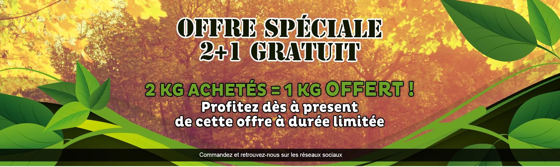 Offre spéciale 2 achetés = 1 gratuit